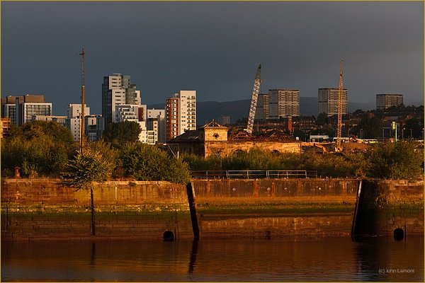 Sunset on Graving docks, Govan Glasgow