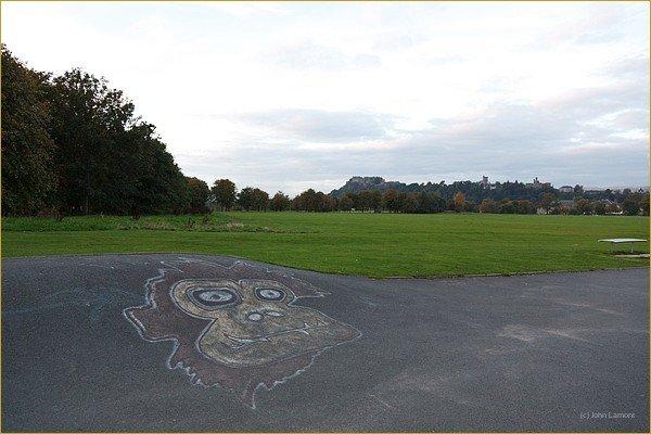ground sketching at Stirling skateboard park