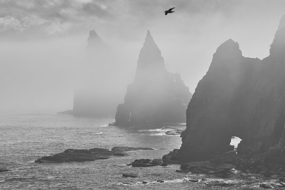Duncansby Head Stacks with Thirle Door in the mist