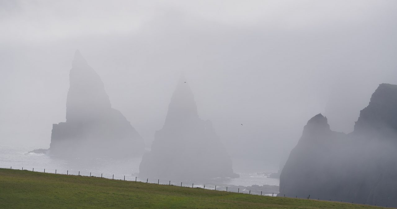 Duncansby Head stacks in the mist