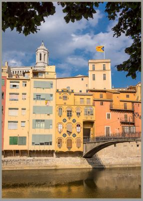 River Onyar in Gerona with Cathedral of Girona