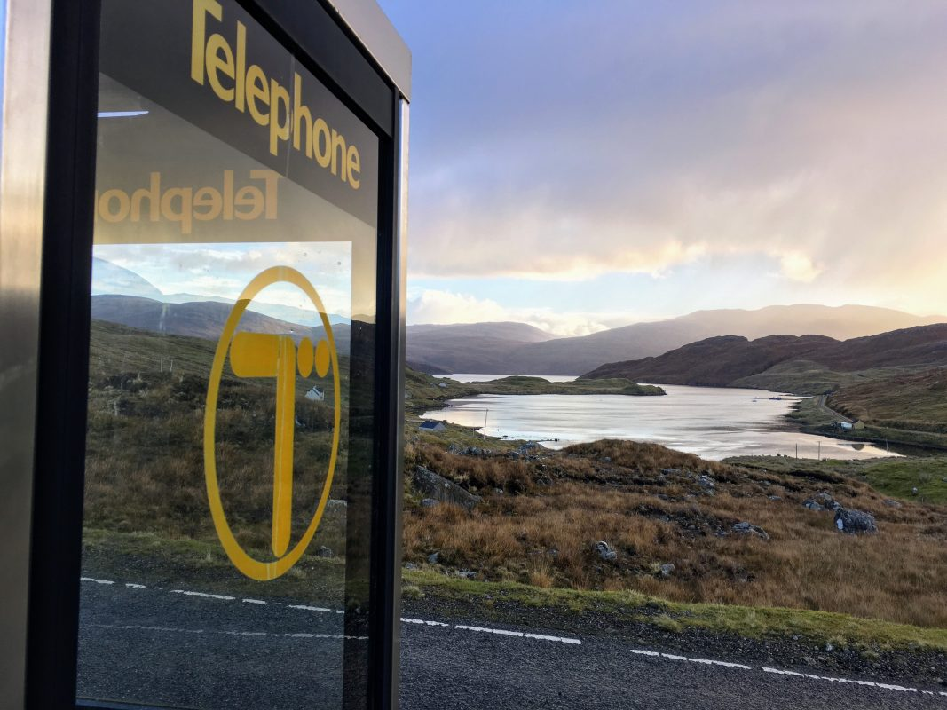 An old 1980's logo BT phone box on Harris