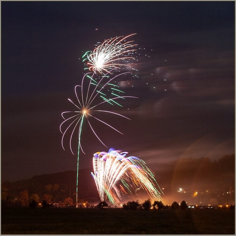 Stirling Night Light and Bridge of Allan Fireworks
